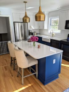 Remodeling a Home with the color blue About Kitchens and Baths
